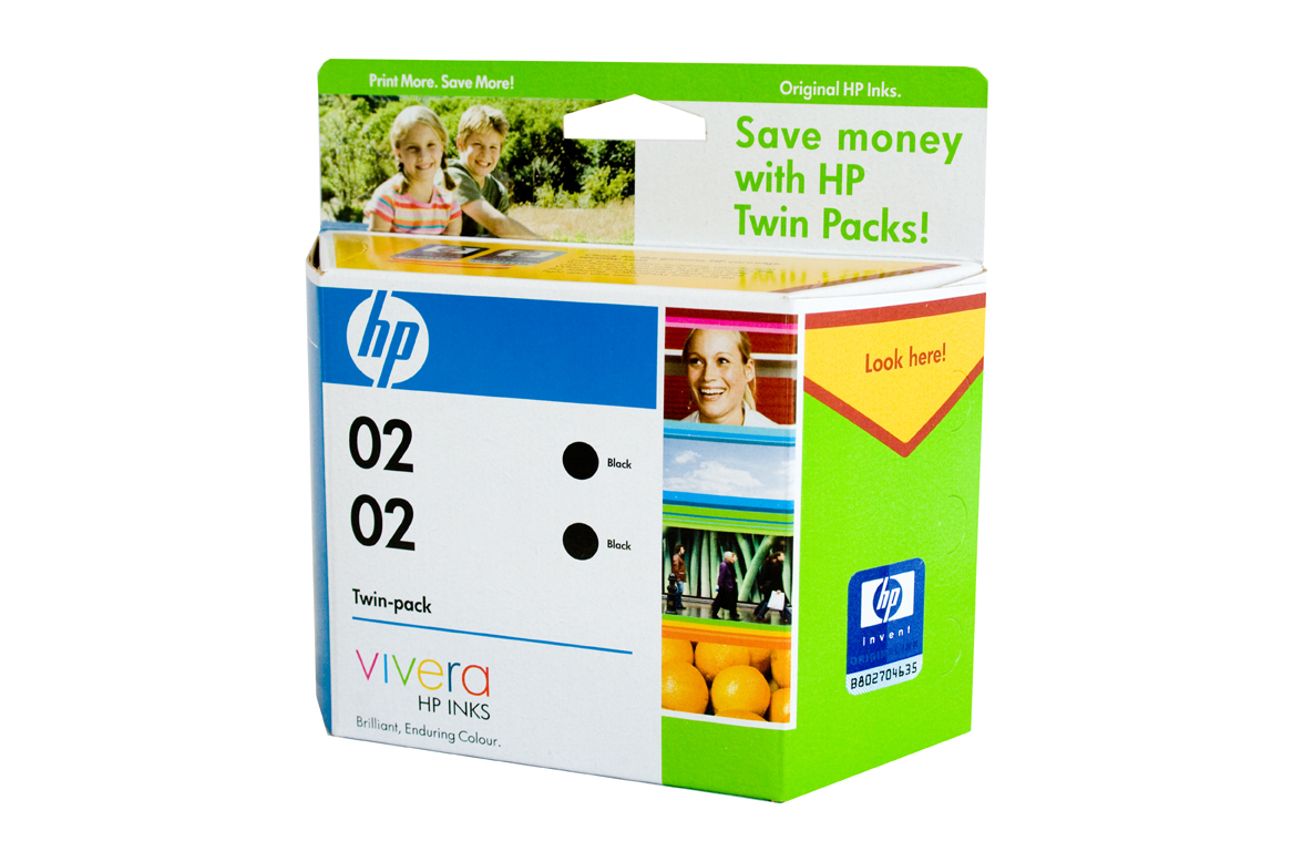 HP 02 Black ink Cartridge - TWIN PACK - 480 pages each