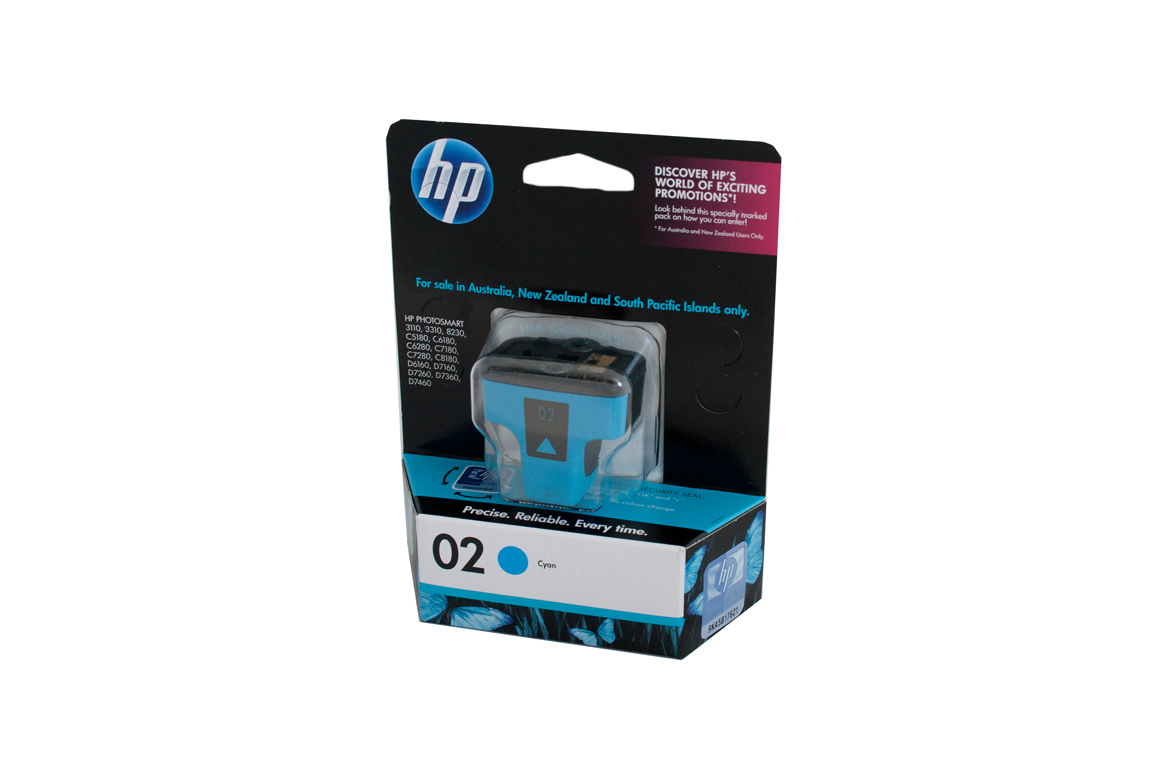 HP 02 Cyan Ink Cartridge - 4ml - 350 pages