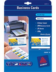 White Quick & Clean™ Colour Laser Business Card, Satin, 220gsm